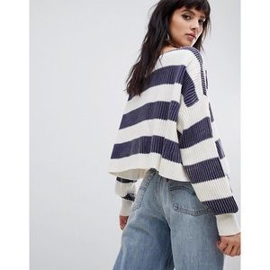 Free People Just My Stripe Cotton Cropped Sweater